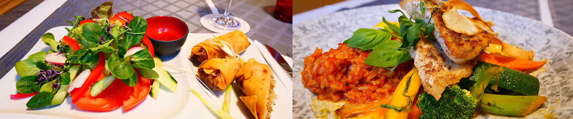 Asiatische Gerichte und Fischgerichte des Restaurants Bei Christian in Massing